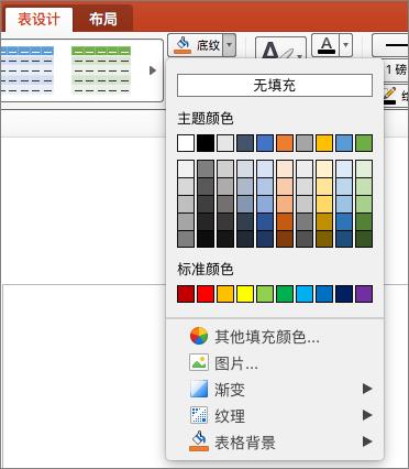 屏幕截图显示表格设计选项卡,选中底纹下拉箭头以显示包括无填充颜色、 主题颜色、 标准颜色、 其他填充颜色、 图片、 渐变、 纹理和表格背景的可用选项。