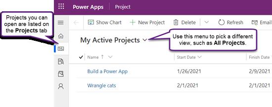 "Project Power 应用中的""项目""选项卡,显示""我的有效项目""视图"