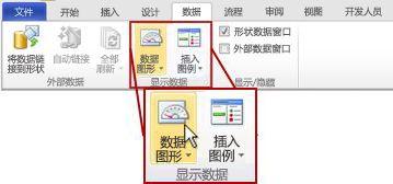 """Visio 2010 功能区""""数据""""选项卡上的""""显示数据""""组。"""