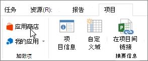 光标指向应用商店功能区上的项目选项卡部分的屏幕截图。选择应用商店以转到 Office 应用商店,然后查找的项目的加载项。