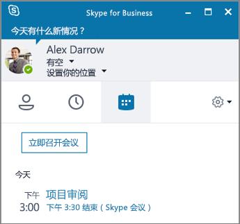 "Skype for Business 窗口的""会议""选项卡的屏幕截图。"