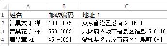 具有有效的日语地址的地址列表