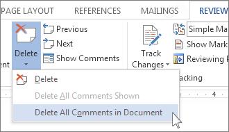 """""""删除批注""""菜单上的""""删除文档中的所有批注""""命令。"""