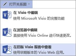 """""""打开图表,在旧版 Visio 服务中查看""""命令"""