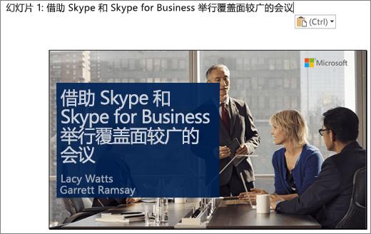 屏幕截图,显示含幻灯片标题的幻灯片 1 的新 Word 文档。图示中的幻灯片包含幻灯片标题、演示者姓名以及内容为会议桌旁几名商业人士的背景图片。