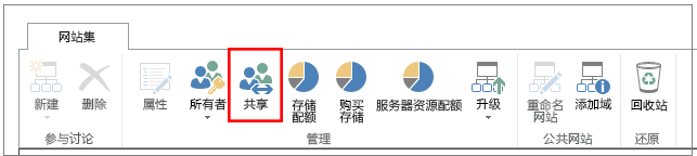 "SharePoint Online 管理中心的功能区,突出显示""共享""按钮"