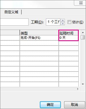 """""""任务信息""""框中的""""延隔时间""""列。"""