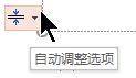 """使用文本填充占位符时, 将显示 """"自动调整选项"""" 工具"""