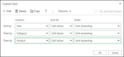 从数据Excel Web 的自定义排序>排序&筛选。