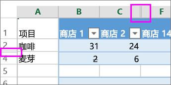 在行或列标题上的双线指示隐藏的列或行