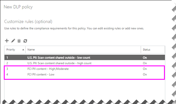 """显示刚创建的两条规则的""""新建 DLP 策略""""对话框"""