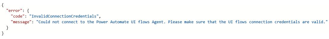 InvalidConnectionCredentials 错误
