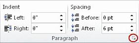 """""""页面布局""""选项卡上的""""段落""""组"""