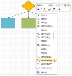 直线连接线从中心点发出的流程图。