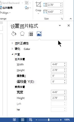 """在 Word 中停靠在窗口右侧的 """"设置图片格式"""" 窗格"""