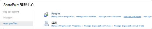 在用户配置文件页面上的管理访问群体链接