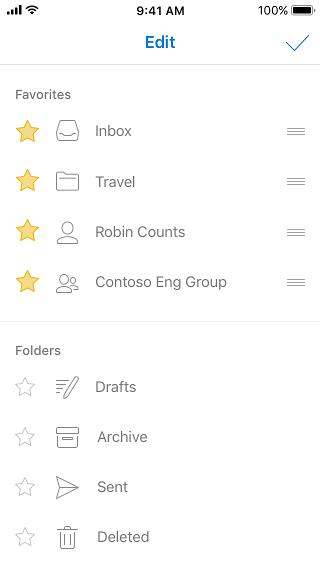 列表右侧有铅笔图标和三条线,用于重新排序收藏夹列表