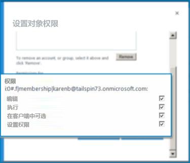 "SharePoint Online 中的""设置对象权限""对话框的屏幕截图。 使用此对话框设置指定外部内容类型的权限。"