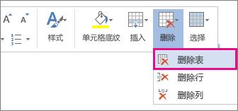 """在 Word Online 中选择表格单元格内容时打开的部分弹出菜单(""""删除表格""""选项已突出显示)的图像。"""