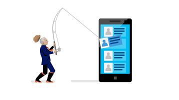 """概念:一个人正用钓鱼竿从智能手机中""""钓出""""数据。"""