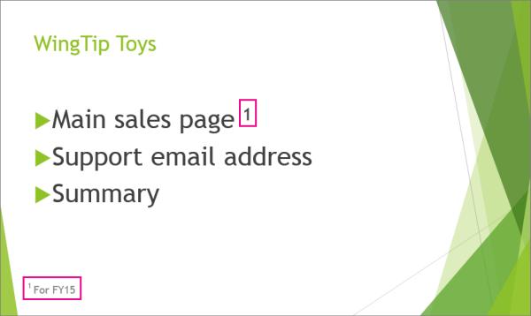 PowerPoint 中含页脚的幻灯片