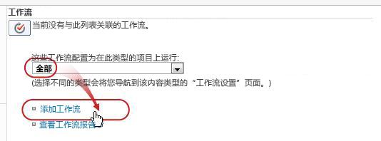 """添加具有""""全部""""内容类型的""""工作流""""页,添加标注出的""""工作流"""""""