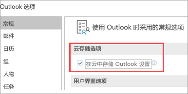 显示的 Outlook 设置选项