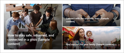 """""""问题管理""""网站模板主页上的 Hero Web 部件。 这具有三张大图像,标题为""""如何保持安全、及时了解情况并保持联系""""、""""获取最新信息""""和""""查找对你的家人的支持""""。"""