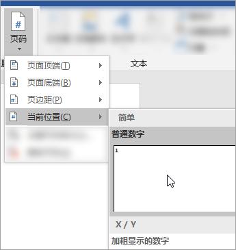 屏幕截图, 显示如何在文档中的当前位置选择纯文本格式的页码