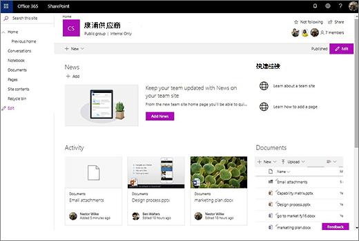 这将显示工作组网站,在连接新的 Office 365 组之后,并包括到旧的工作组网站的链接。