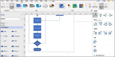 具有各种设计和布局选项的流程图