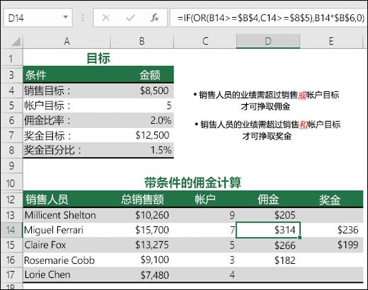 使用 IF 和 OR 函数计算销售佣金的示例。