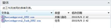 """""""任务""""页面上使用的任务窗体在 SharePoint Designer 中列出"""