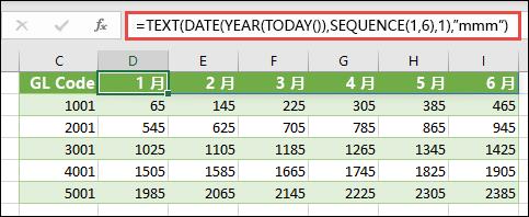 将 SEQUENCE 与 TEXT、DATE、YEAR 和 TADAY 配合使用,以为标题行创建动态月份列表。