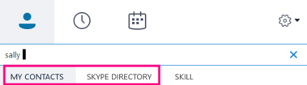 """当你开始在 Skype for Business 搜索框中键入时,下面的选项卡更改为""""我的联系人""""和 Skype 目录。"""