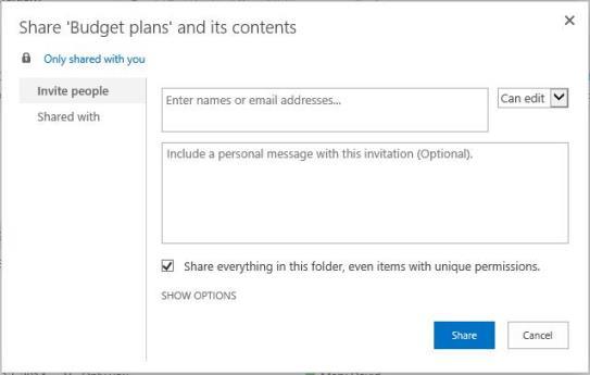 使用文件夹共享对话框共享此文件夹中的所有内容,甚至具有独有权限所选项目