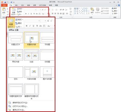 """在 PowerPoint 2010 中的""""开始""""选项卡上,查看""""幻灯片""""组。"""