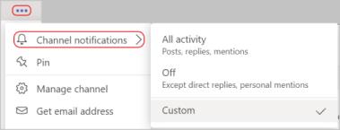 """""""更多选项"""" 菜单中的 """"频道通知"""" 设置的屏幕截图。 红线圆圈 """"更多选项"""" 图标和频道通知"""