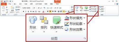"PowerPoint 2010 功能区中""开始""选项卡上的""绘图""组。"