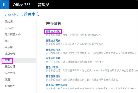 SharePoint 管理中心内的搜索管理页面