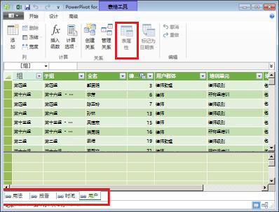 PowerPivot 选项卡式窗口