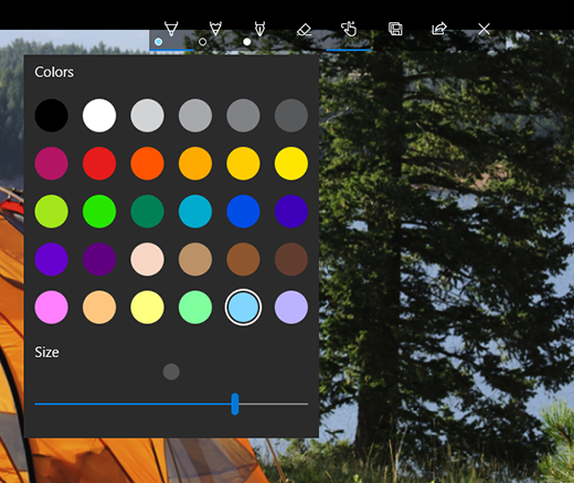 Drawing options in Microsoft Photos app