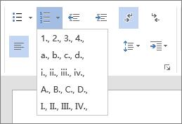 """""""开始""""选项卡的""""段落组""""中的""""编号""""选项的屏幕截图,其中包括有序排列的数字和字母。"""