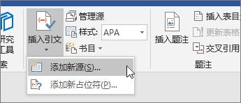 指向插入引文,然后选择添加新的源