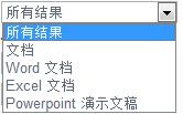 """结果选项包括""""所有结果""""、""""文档""""、""""Word 文档""""、""""Excel 文档""""和""""PowerPoint 演示文稿"""""""