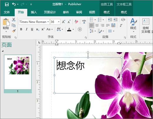 显示 Publisher 文件中页面上文本框的屏幕截图。