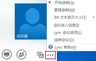 "Lync 会议中的""更多选项""的屏幕截图"