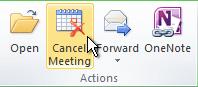 """功能区上的""""取消会议""""命令"""