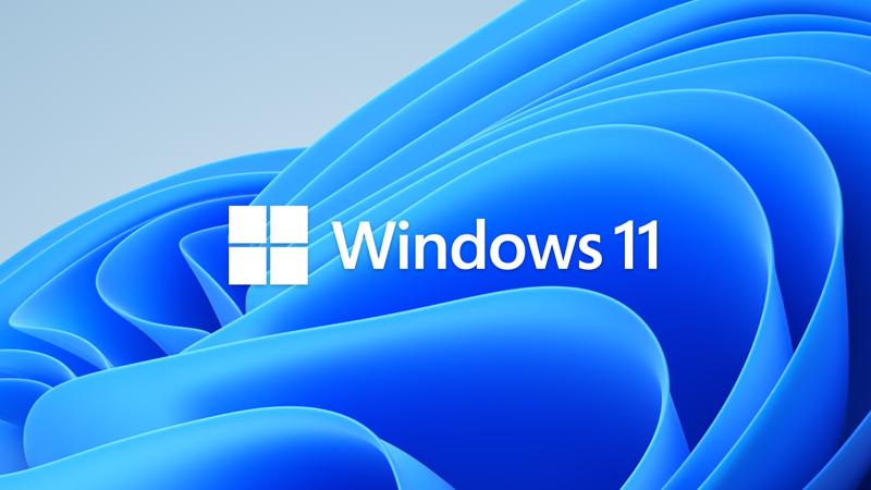 蓝色背景上的 Windows 11 徽标
