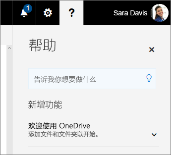 "OneDrive for Business 中的""帮助""窗格"